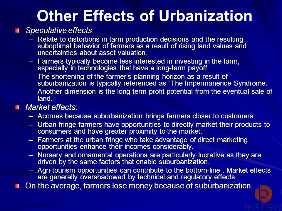 Other Effects of Urbanization