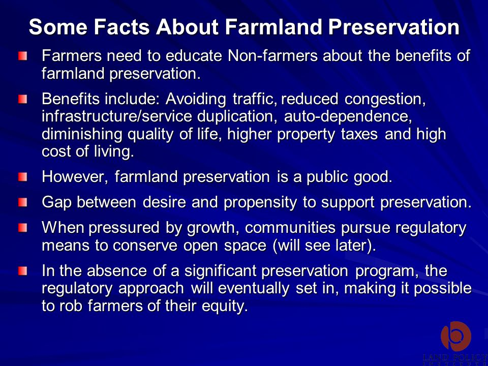 Some Facts About Farmland Preservation