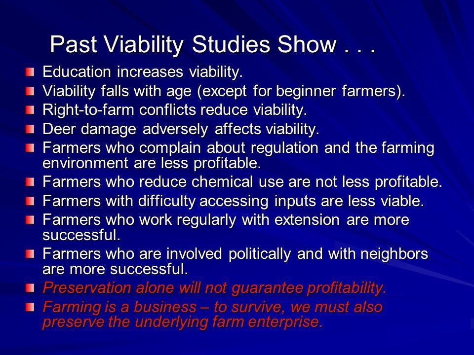 Past Viability Studies Show . . .