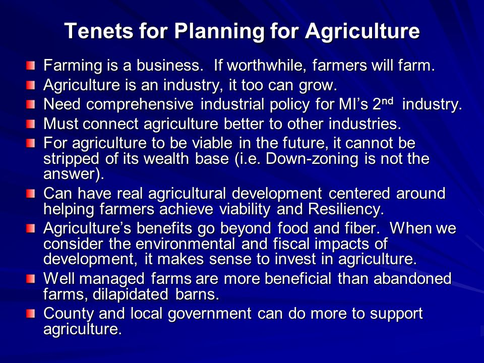 Tenets for Planning for Agriculture