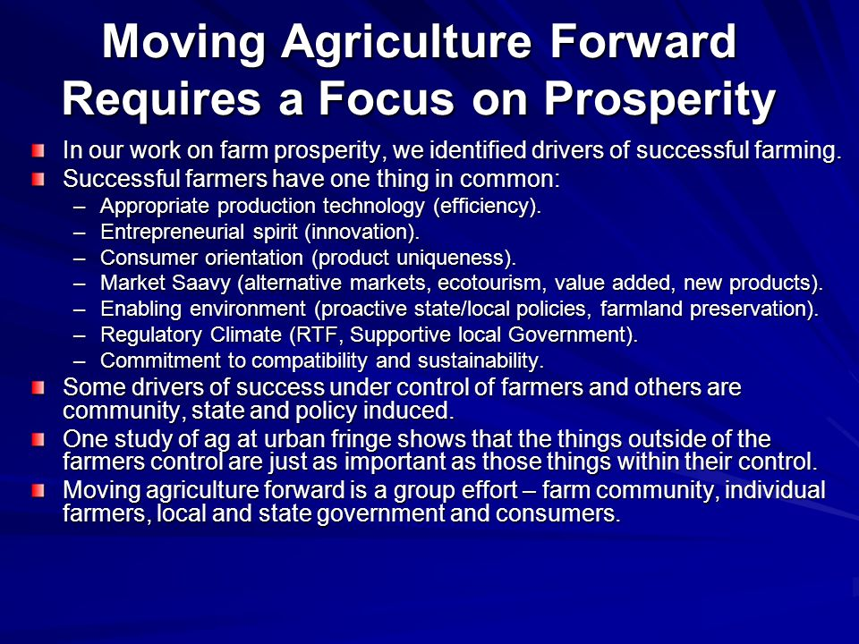 Moving Agriculture Forward Requires a Focus on Prosperity