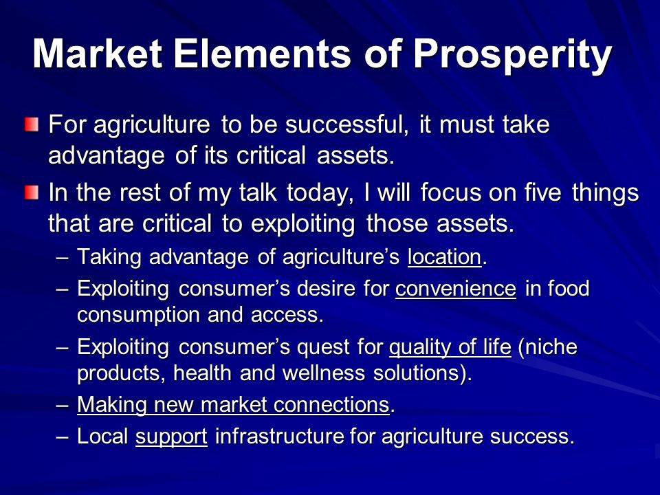 Market Elements of Prosperity