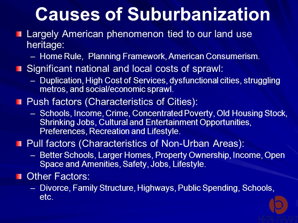 Causes of Suburbanization