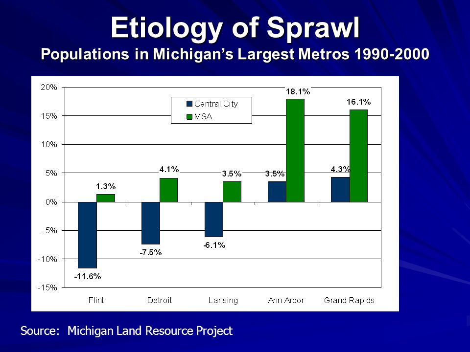 Populations in Michigan's Largest Metros 1990-2000