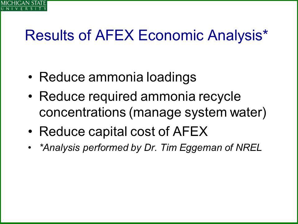 Results of AFEX Economic Analysis*