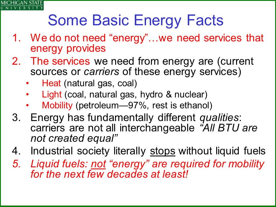 Some Basic Energy Facts