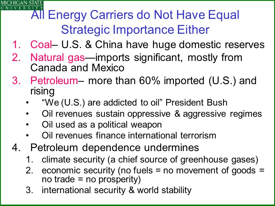 All Energy Carriers do Not Have Equal Strategic Importance Either