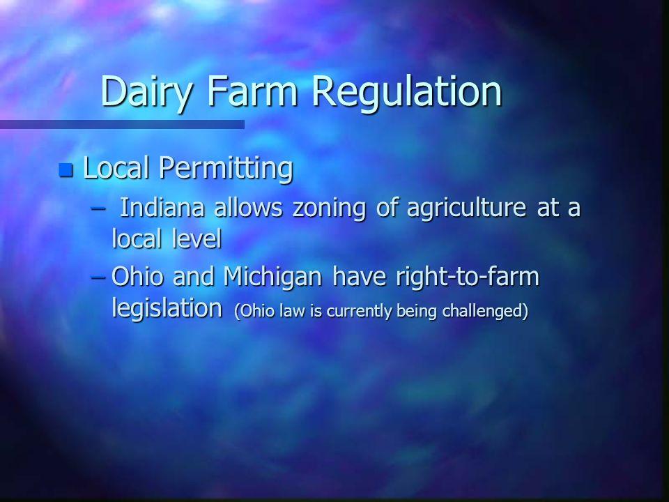 Dairy Farm Regulation Local Permitting