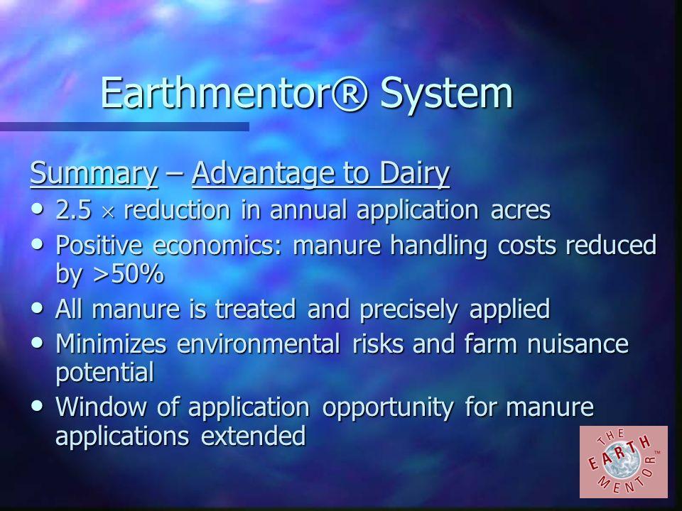 Earthmentor® System Summary – Advantage to Dairy