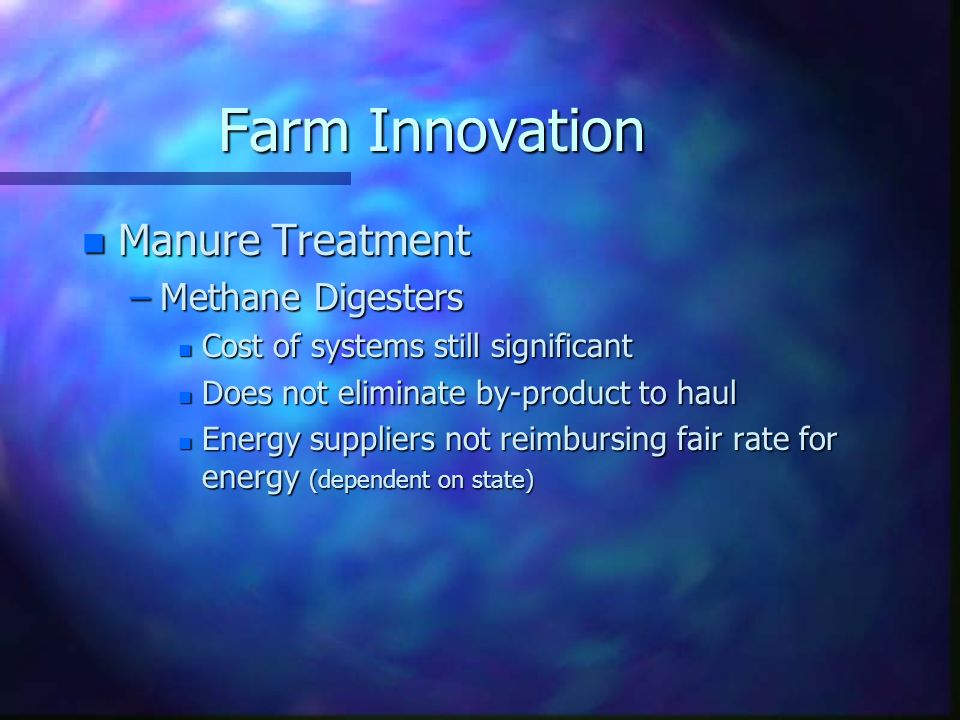 Farm Innovation Manure Treatment Methane Digesters