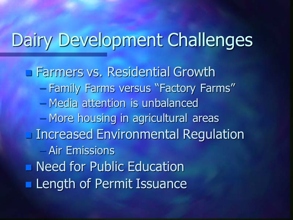 Dairy Development Challenges