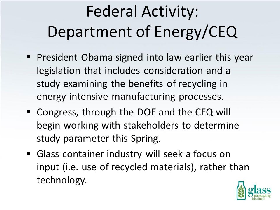 Federal Activity: Department of Energy/CEQ