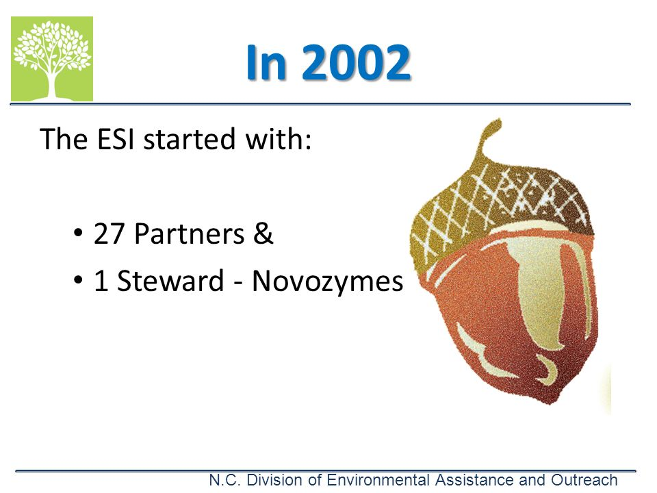 In 2002 The ESI started with: 27 Partners & 1 Steward - Novozymes