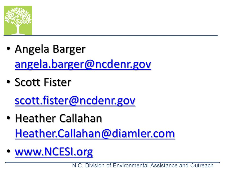 Angela Barger angela.barger@ncdenr.gov