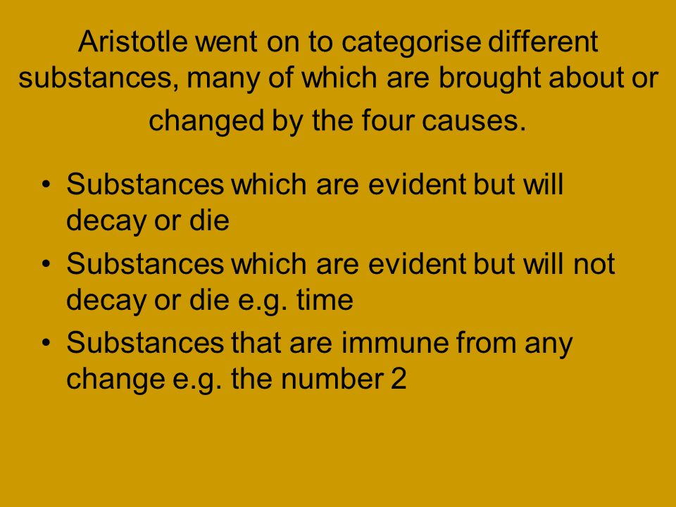 aristotle the four causes A) describe aristotle's teaching about the difference between the final cause and  the other sorts of cause (25 marks) unlike plato and socrates.