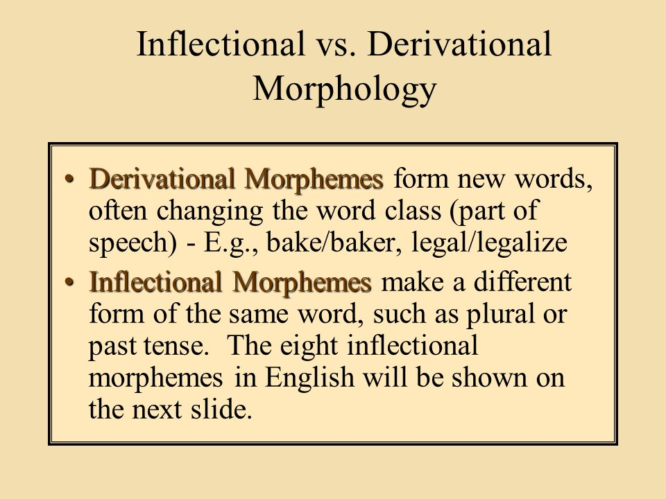 derivational morphology Morphology is the branch of linguistics which seeks to determine the base units of meaning within a given language a morpheme is the smallest unit of language which is individually meaningful while sounds may distinguish words through minimal pairs, for example, they are not expressly responsible for the meaning of the word.