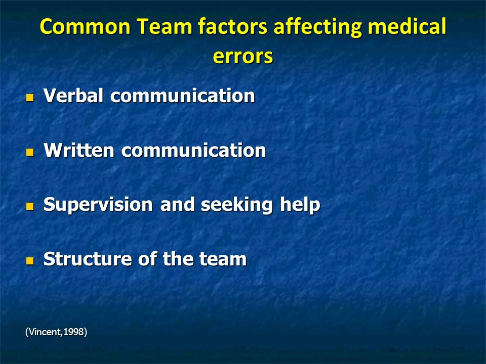 Common Team factors affecting medical errors