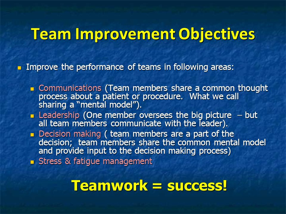 Team Improvement Objectives