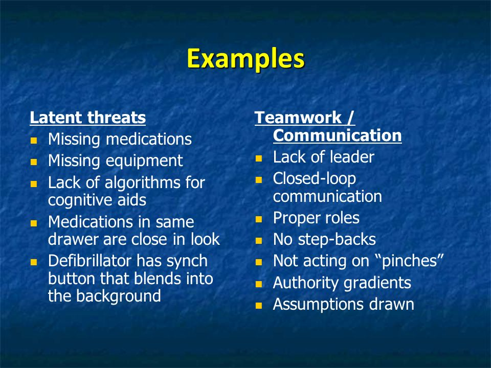 Examples Latent threats Missing medications Missing equipment