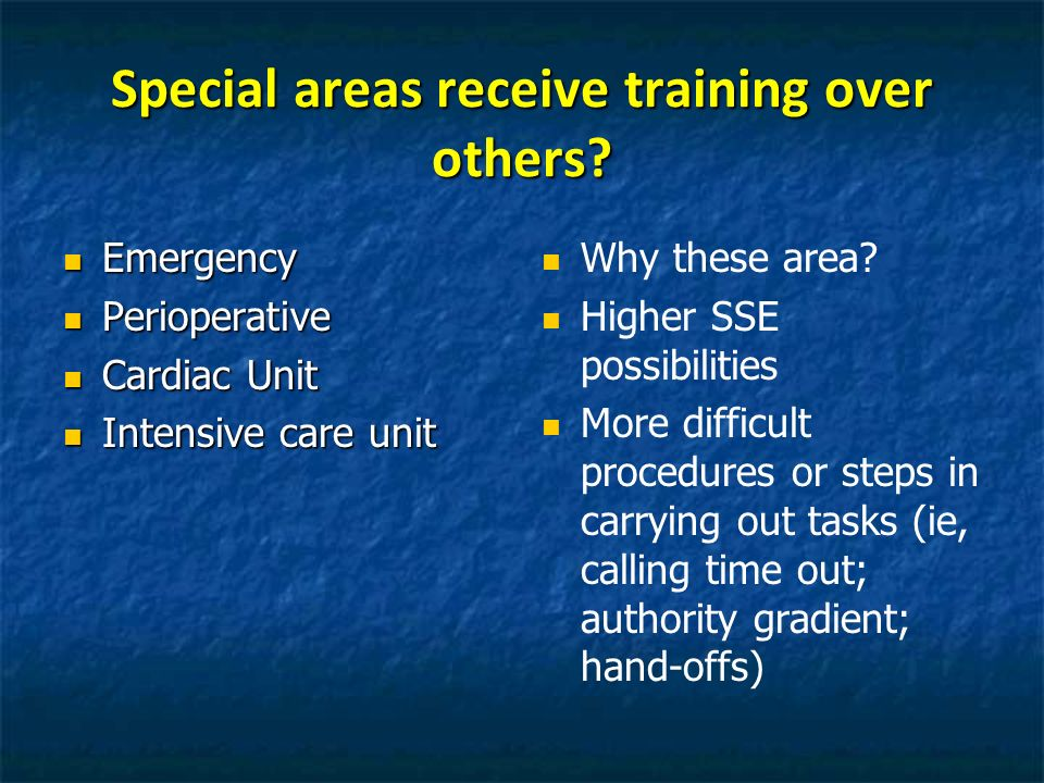 Special areas receive training over others