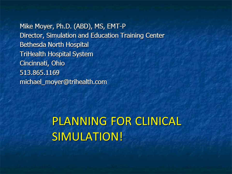PLANNING FOR CLINICAL SIMULATION!