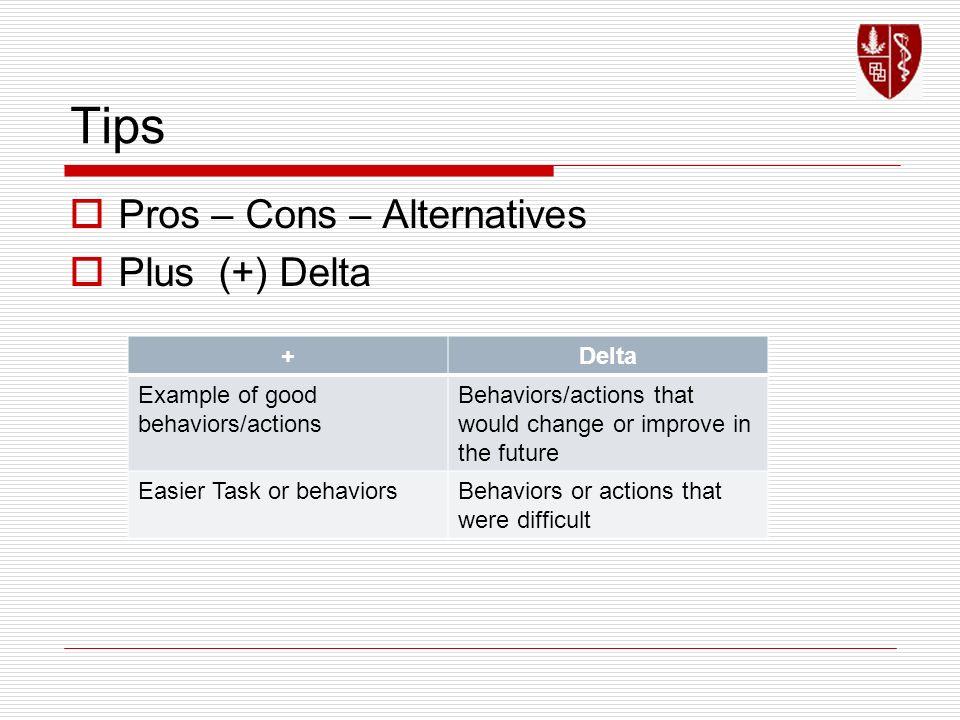 Tips Pros – Cons – Alternatives Plus (+) Delta + Delta