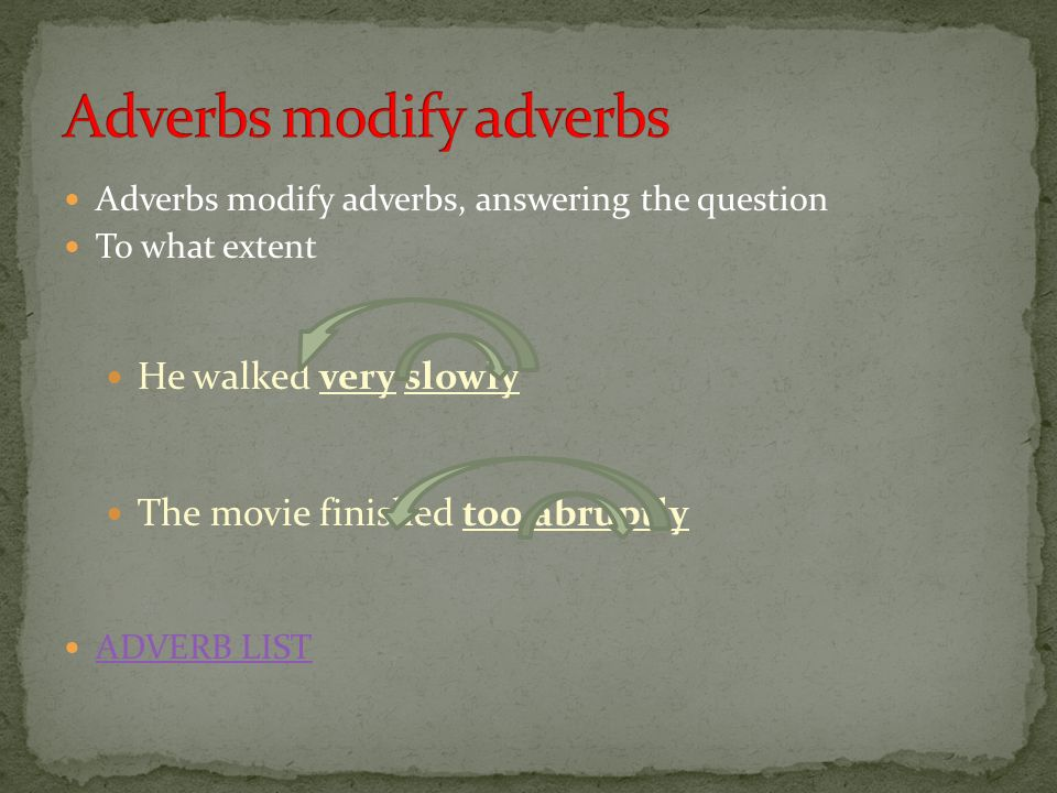 Adverbs modify adverbs
