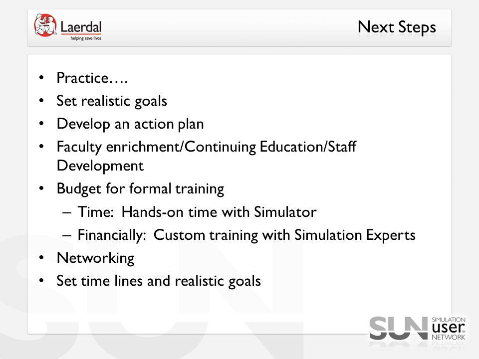 Next Steps Practice…. Set realistic goals Develop an action plan