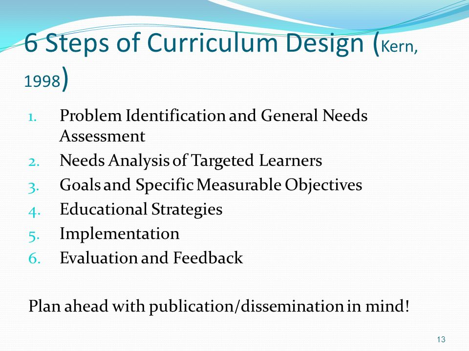 6 Steps of Curriculum Design (Kern, 1998)