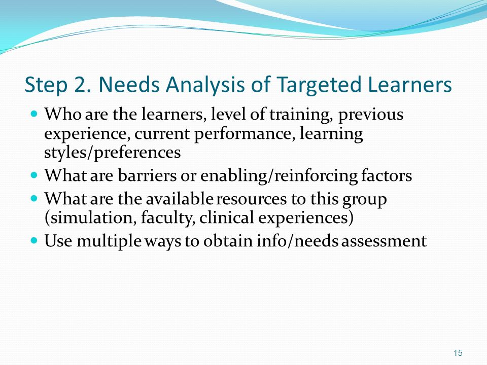 Step 2. Needs Analysis of Targeted Learners