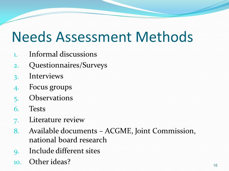 Needs Assessment Methods