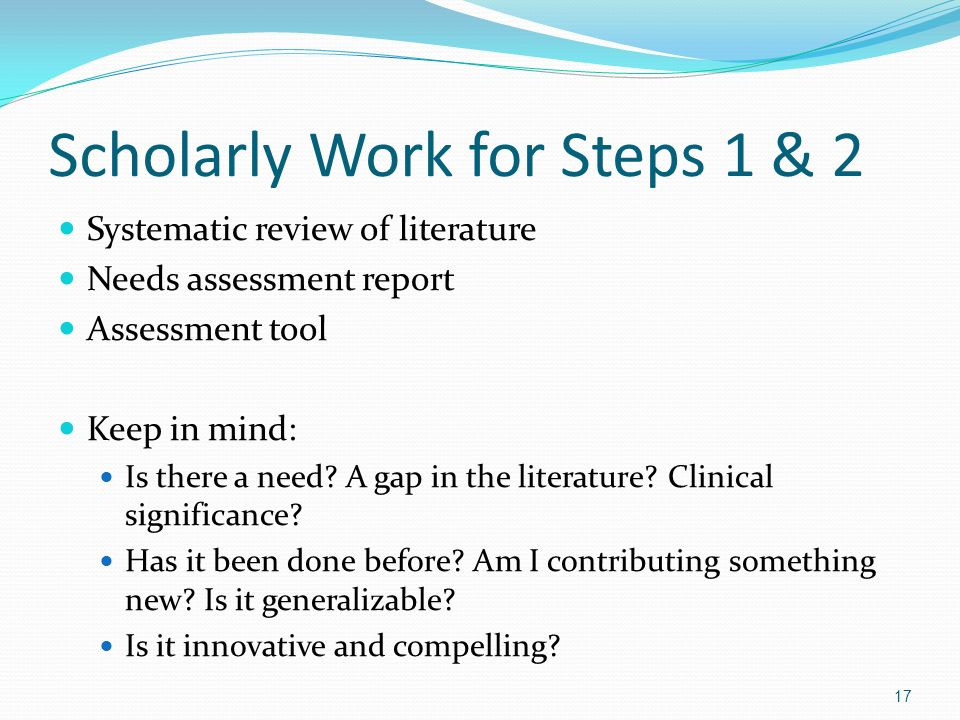 Scholarly Work for Steps 1 & 2