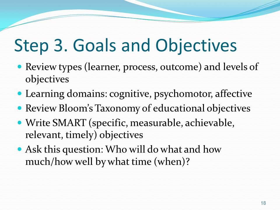 Step 3. Goals and Objectives