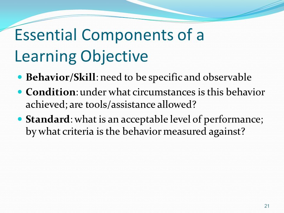 Essential Components of a Learning Objective