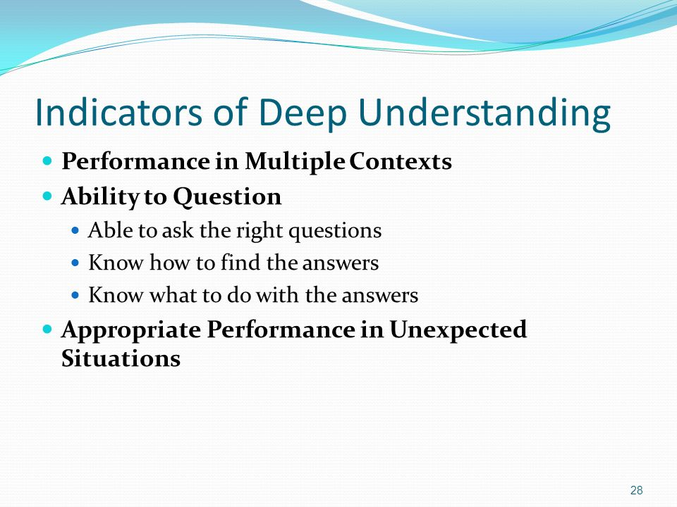 Indicators of Deep Understanding