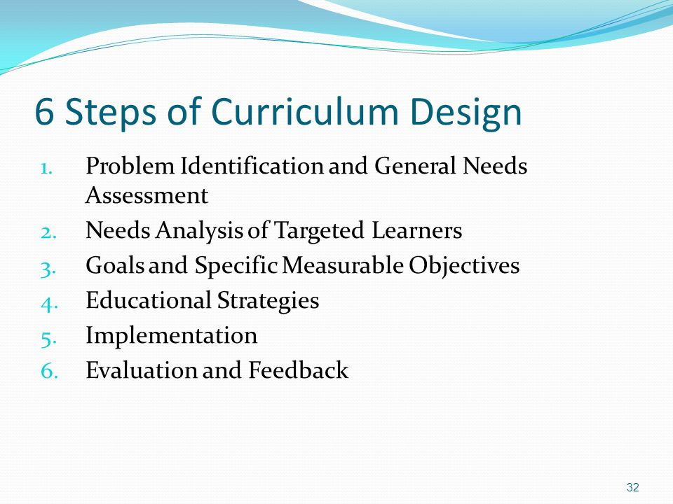6 Steps of Curriculum Design