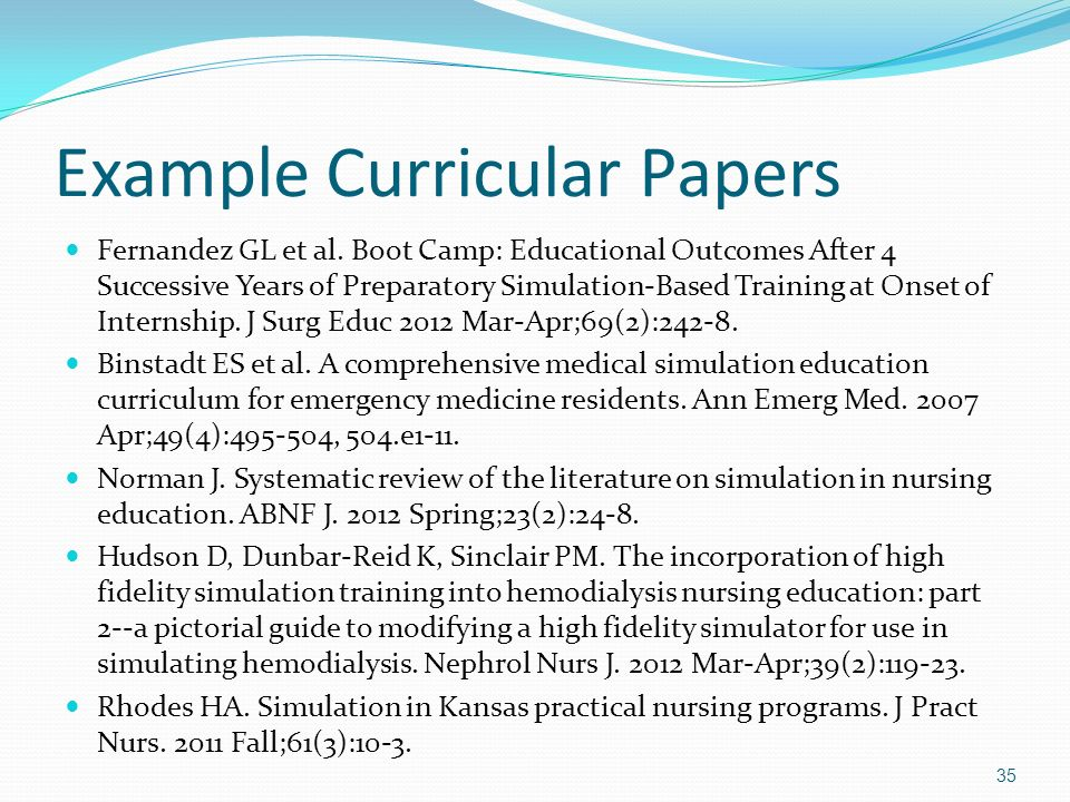 Example Curricular Papers