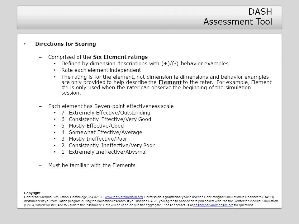 DASH Assessment Tool Directions for Scoring