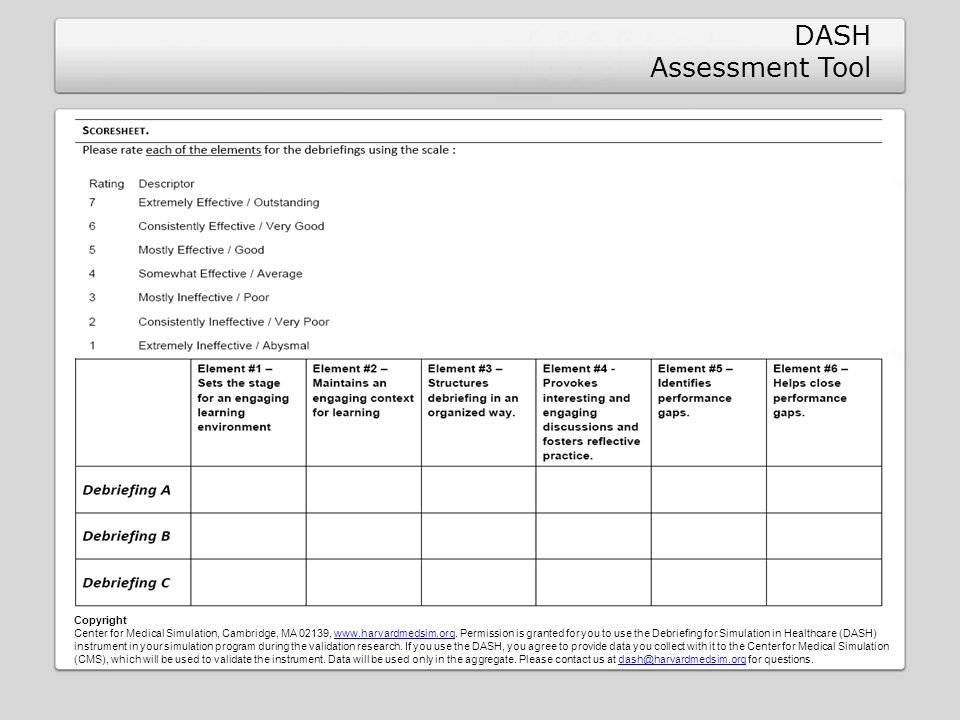 DASH Assessment Tool