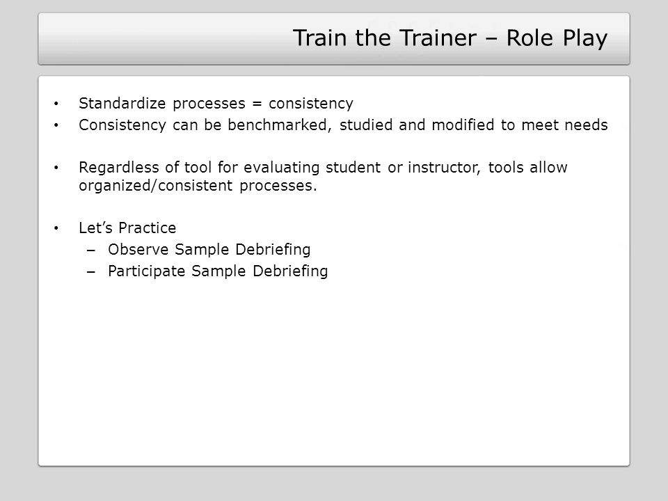 Train the Trainer – Role Play
