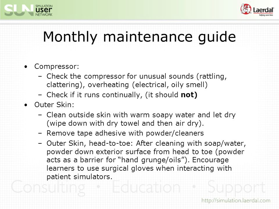 Monthly maintenance guide
