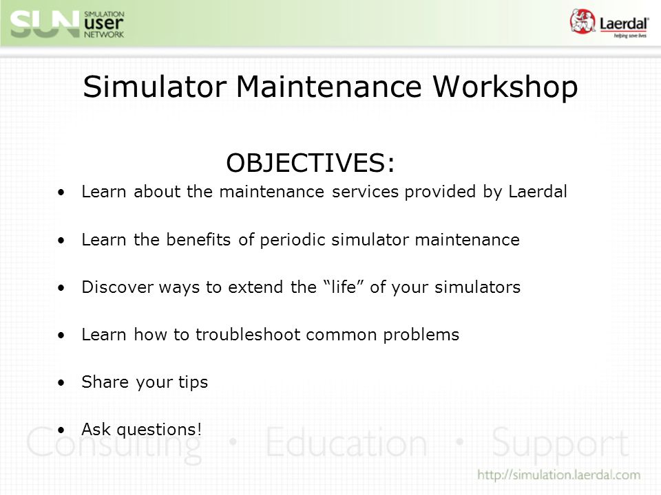 Simulator Maintenance Workshop