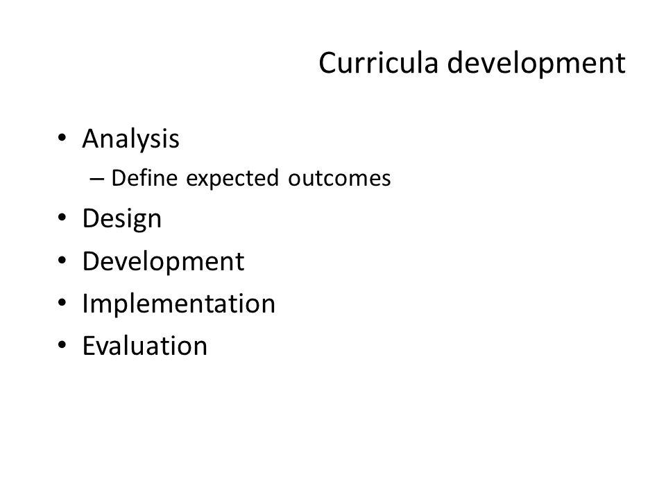 Curricula development