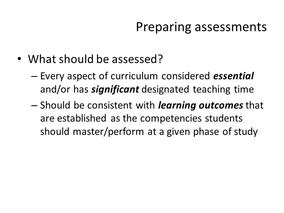 Preparing assessments
