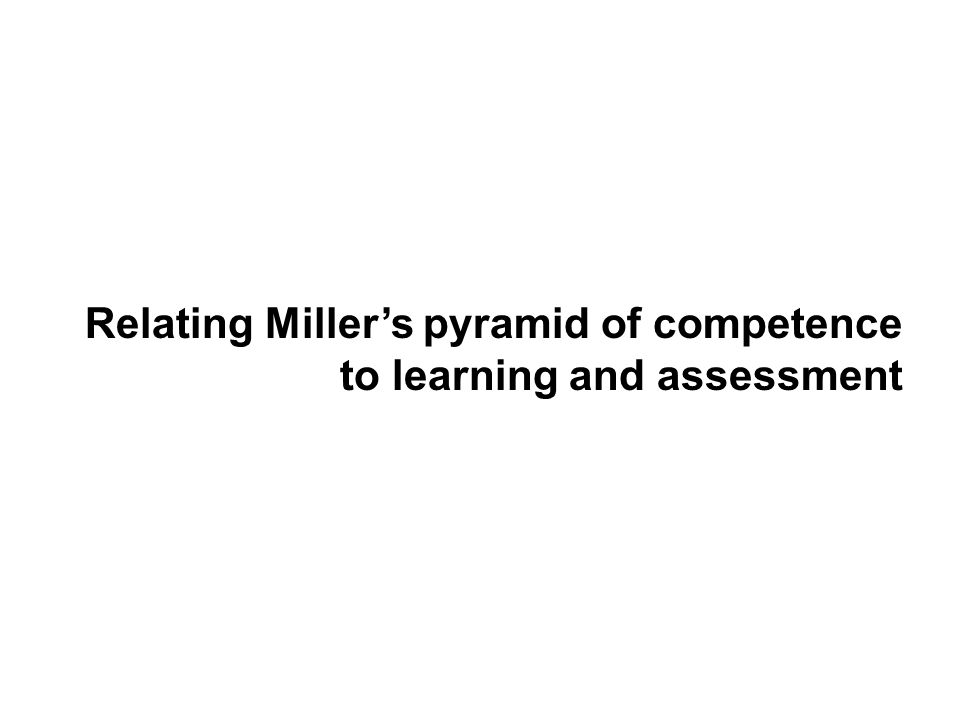 Relating Miller's pyramid of competence to learning and assessment
