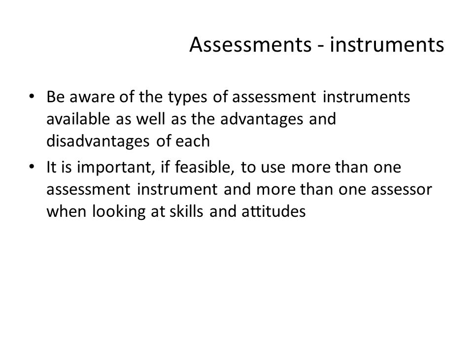 Assessments - instruments