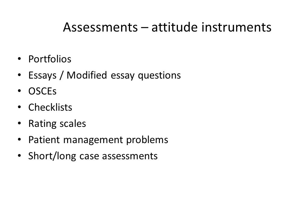 Assessments – attitude instruments