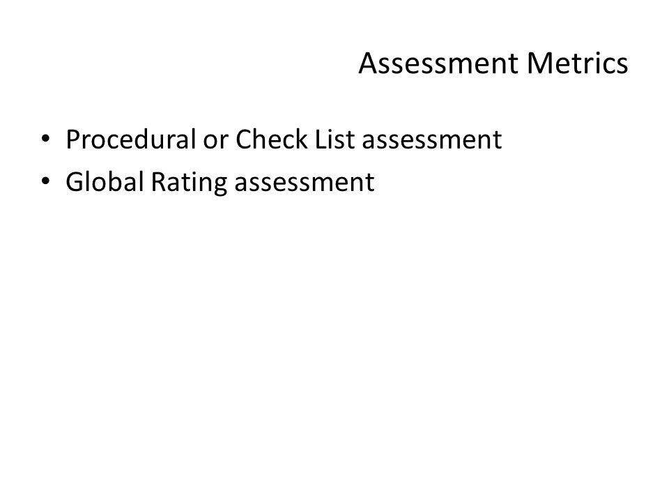 Assessment Metrics Procedural or Check List assessment