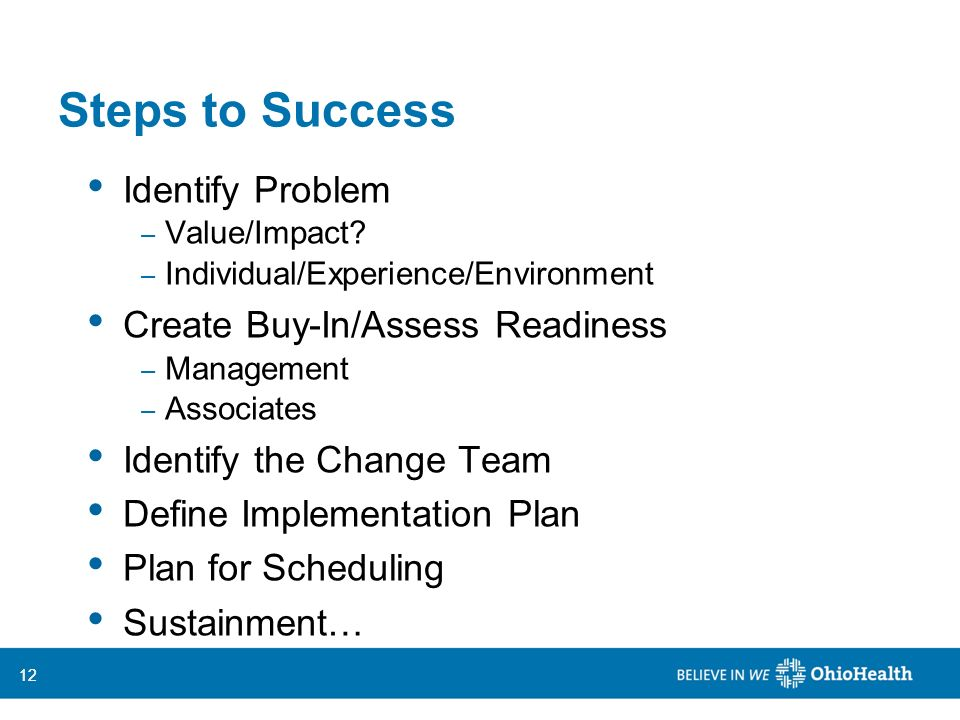 Steps to Success Identify Problem Create Buy-In/Assess Readiness