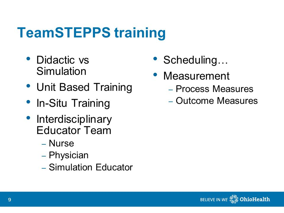 TeamSTEPPS training Didactic vs Simulation Unit Based Training